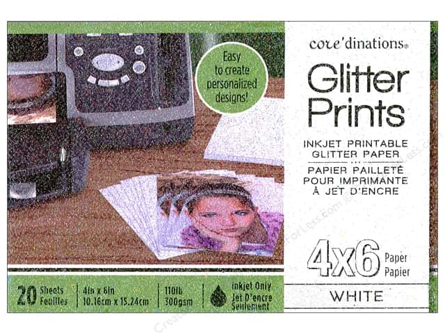 Coredinations Glitter Prints Paper Pad 4 x 6 in. White 20 pc.