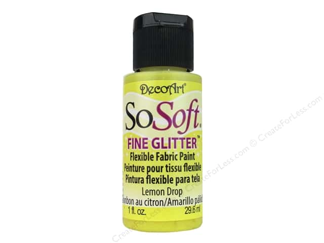 DecoArt SoSoft Fabric Paint 1 oz. Glitter Lemon Drop