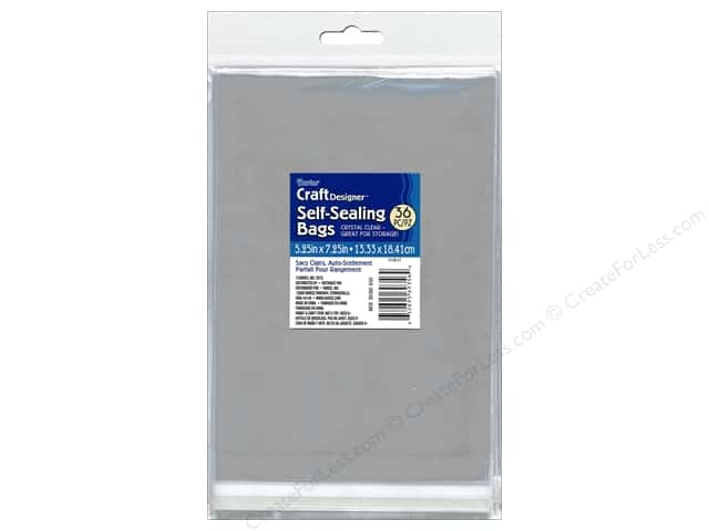 Darice Craft Designer Reclosable Storage Bags 5 1/4 x 7 1/4 in. 36 pc. Clear