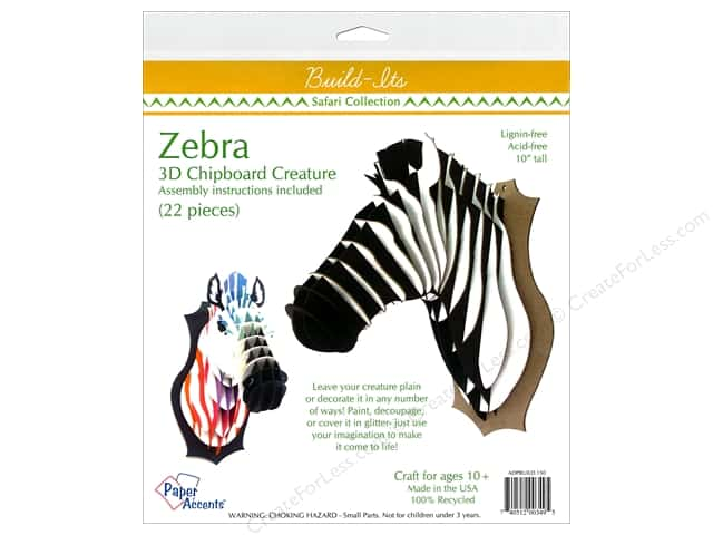 "Paper Accents Build Its Chip Zebra 10"" Tall"