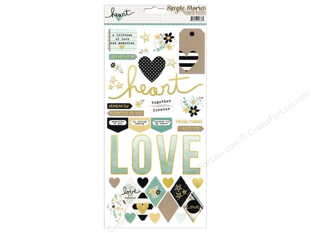 Simple Stories Stickers Heart Fundamental (12 sets)