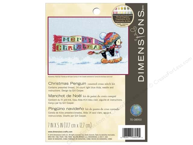 Dimensions Counted Cross Stitch Kit 7 x 5 in. Christmas Penguin