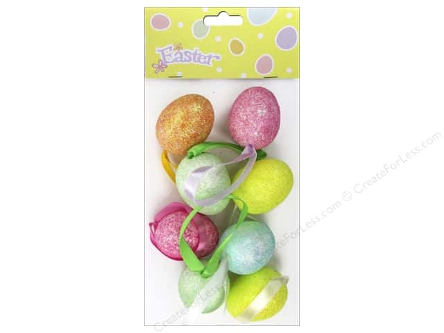 "Darice Mica Egg Ornament 1.5"" Assorted Colors 8pc"
