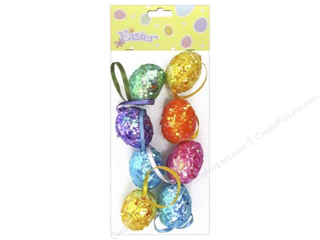 "Darice Sequin Egg Ornament 1.5"" Assorted Colors 8pc"