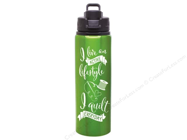 Happy Lines Quilt Lifestyle Water Bottle Apple Green