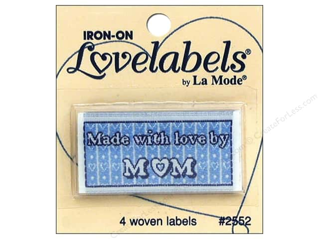 Blumenthal Iron-On Lovelabels 4 pc. Made with Love by Mom