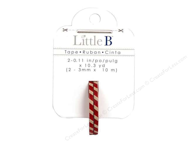 Little B Paper Tape 1/8 in. Red & Antique Stripes 2 pc.