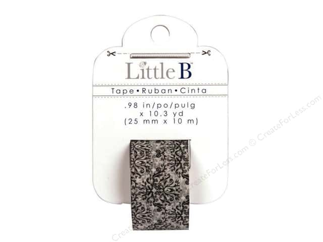 Little B Decorative Paper Tape 1 in. Damask White & Black