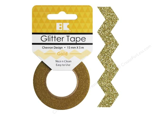 Best Creation Glitter Tape 5/8 in. x 5 1/2 yd. Chevron Gold