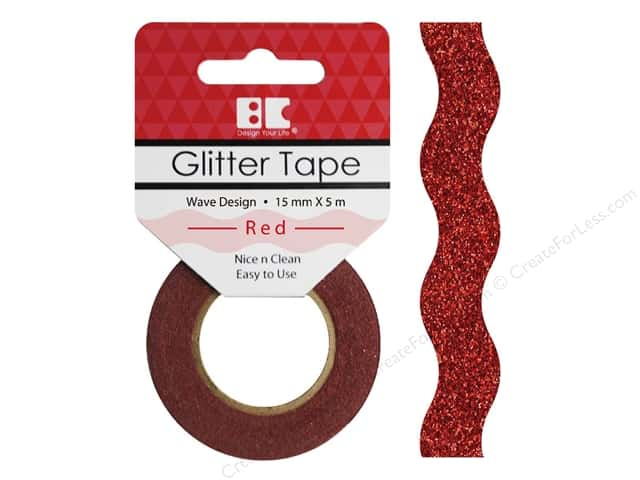 Best Creation Glitter Tape 5/8 in. x 5 1/2 yd. Wave Red