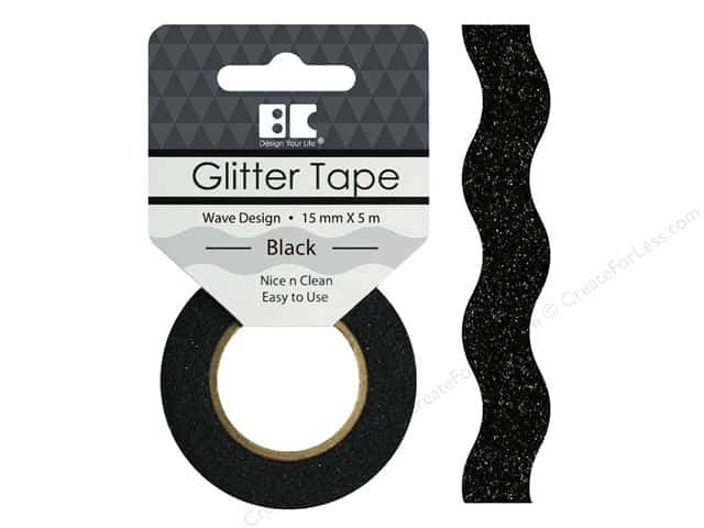 Best Creation Glitter Tape 5/8 in. x 5 1/2 yd. Wave Black