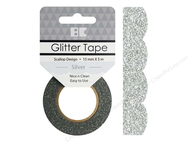 Best Creation Glitter Tape 5/8 in. x 5 1/2 yd. Scallop Silver