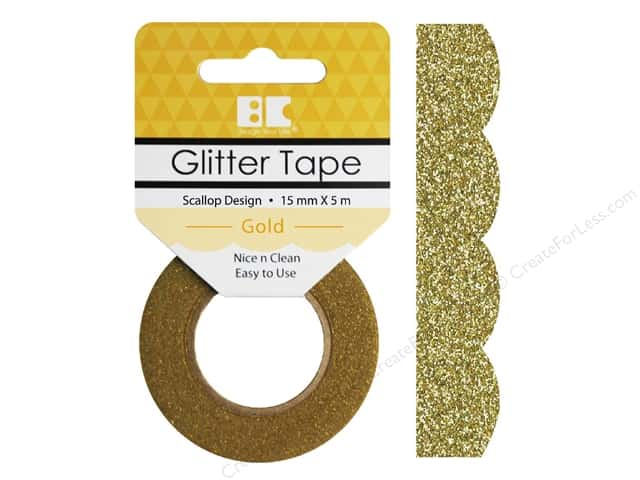 Best Creation Glitter Tape 5/8 in. x 5 1/2 yd. Scallop Gold