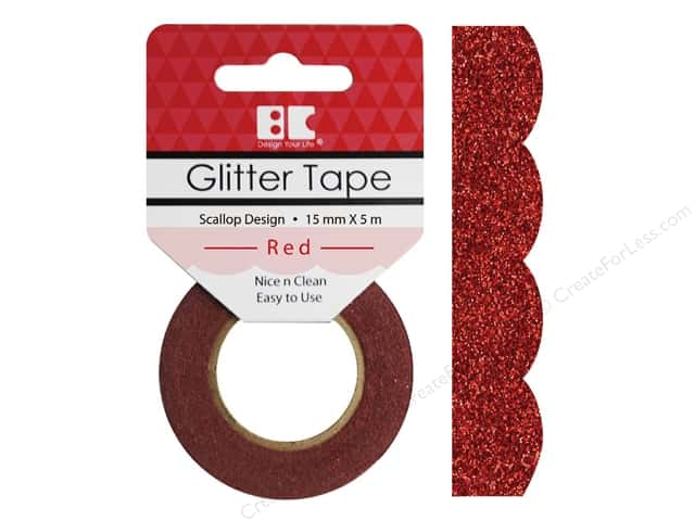 Best Creation Glitter Tape 5/8 in. x 5 1/2 yd. Scallop Red