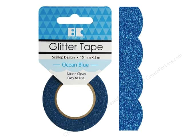 Best Creation Glitter Tape 5/8 in. x 5 1/2 yd. Scallop Ocean Blue