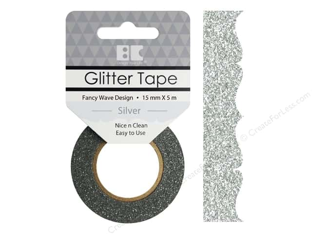 Best Creation Glitter Tape 5/8 in. x 5 1/2 yd. Fancy Wave Silver