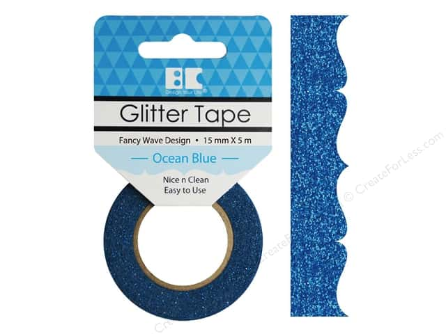 Best Creation Glitter Tape 5/8 in. x 5 1/2 yd. Fancy Wave Ocean Blue