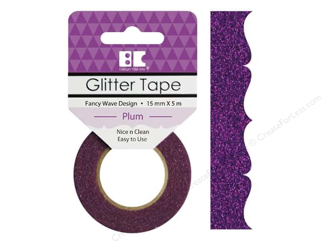 Best Creation Glitter Tape 5/8 in. x 5 1/2 yd. Fancy Wave Plum