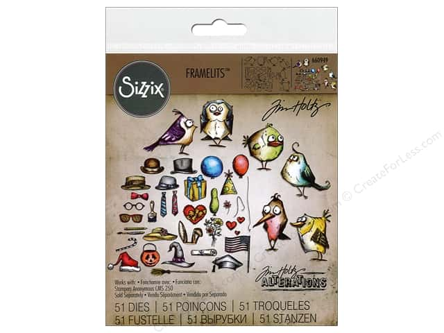 Sizzix Framelits Die Set 51 pc. Mini Bird Crazy & Things