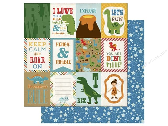 Echo Park 12 x 12 in. Paper Dino Friends Journaling Cards (25 sheets)