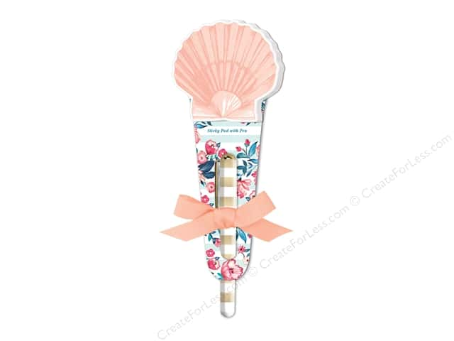 Lady Jayne Sticky Pad with Pen Seaside Blooms Shell