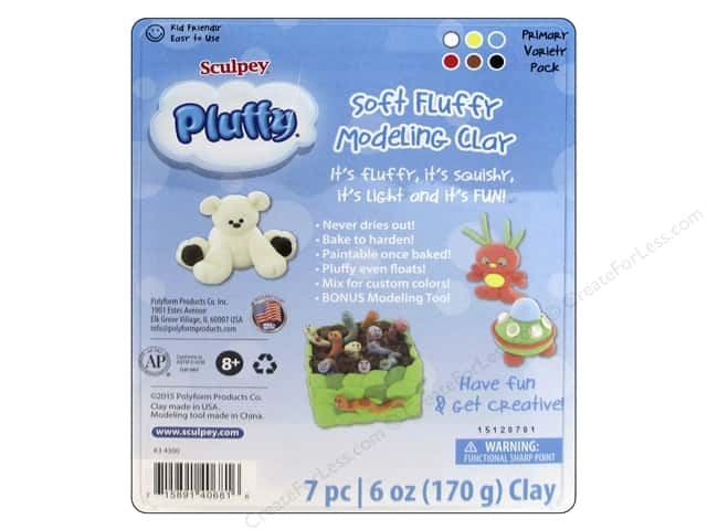 Sculpey Pluffy Clay Polyform Multipack Primary