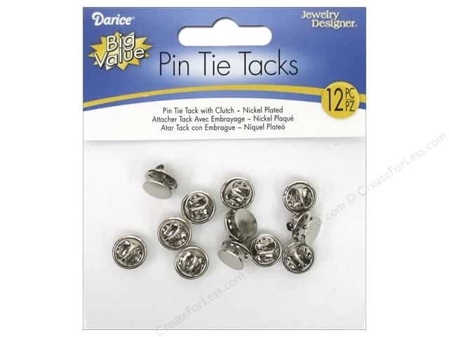 Darice Jewelry Designer Tie Tacks with Clutch Nickel Plated Steel 12 pc.