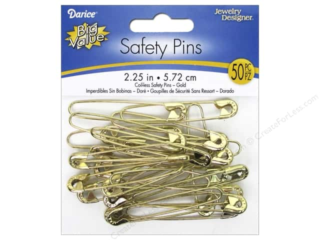 Darice Jewelry Designer Coilless Safety Pins 2 1/4 in. Gold 50 pc.