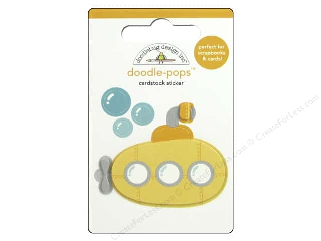 Doodlebug Doodle-Pops 3-D Stickers Anchors Aweigh Yellow Submarine