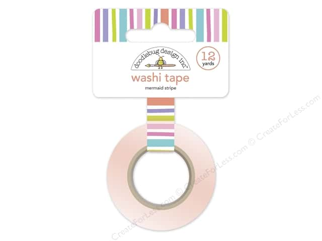 Doodlebug Washi Tape 5/8 in. x 12 yd. Under The Sea Mermaid Stripes
