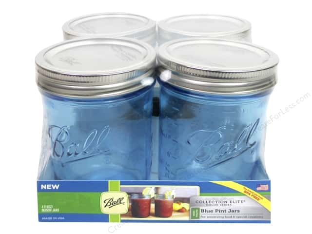 Ball Mason Jars 16 oz. Pint Wide Mouth 4 pc. Blue