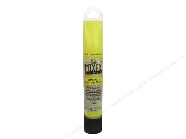 Plaid FolkArt Mixed Media Acrylic Soft Gel Paint 2 oz. Opaque Lemon Yellow