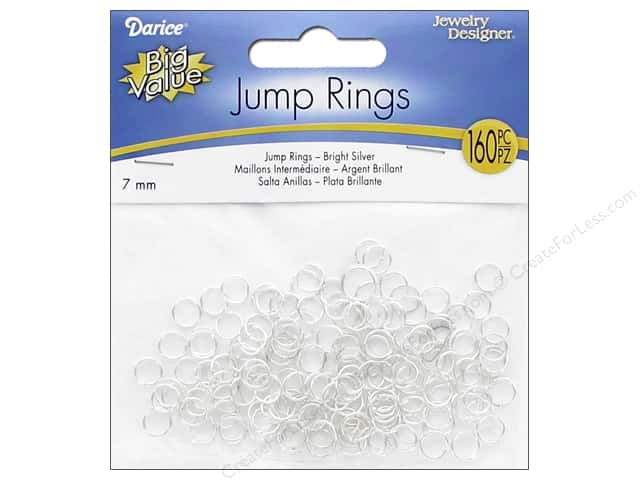 Darice Jewelry Designer Jump Rings 1/4 in. Silver Bright 160 pc.