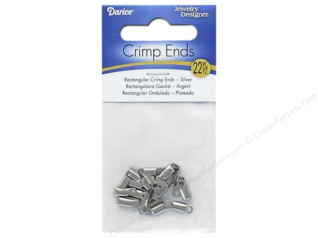 Darice Jewelry Designer Crimp Endcap Rectangle Silver 22 pc.