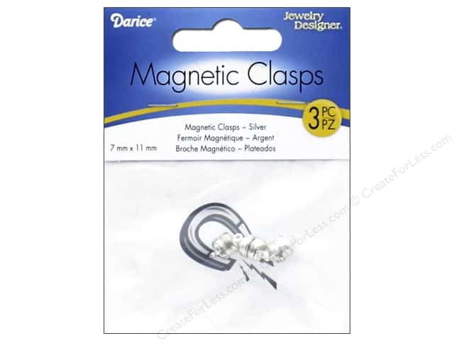 Darice Jewelry Designer Magnetic Clasps 7 x 11 mm Silver 3 pc.
