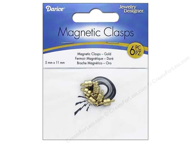 Darice Jewelry Designer Magnetic Clasps 5 x 11 mm Gold 6 pc.