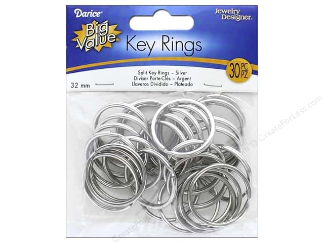Darice Jewelry Designer Split Ring 32 mm Nickel 30 pc.