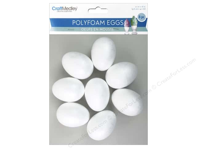 Multicraft Polyfoam Eggs 2.2 x 1.6 in. 8 pc.