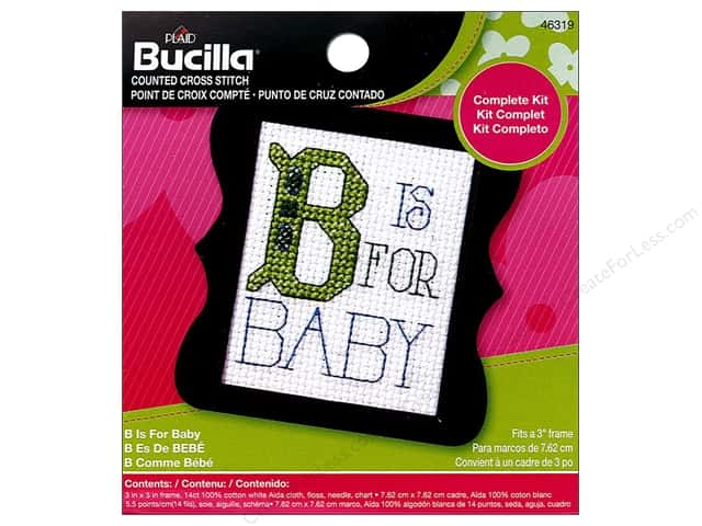 Bucilla Counted Cross Stitch Kit 2 1/2 in. Mini B Is For Baby