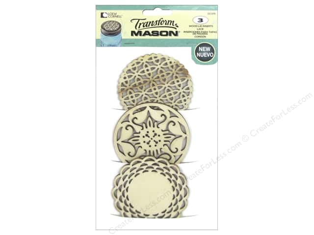 Loew Cornell Transform Mason Wood Lid Inserts 3 pc. Lace