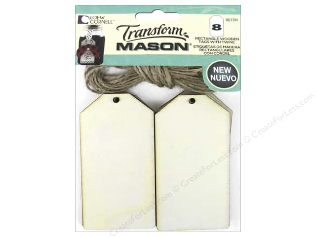 Loew Cornell Transform Mason Wooden Tags 8 pc. Rectangle Tag