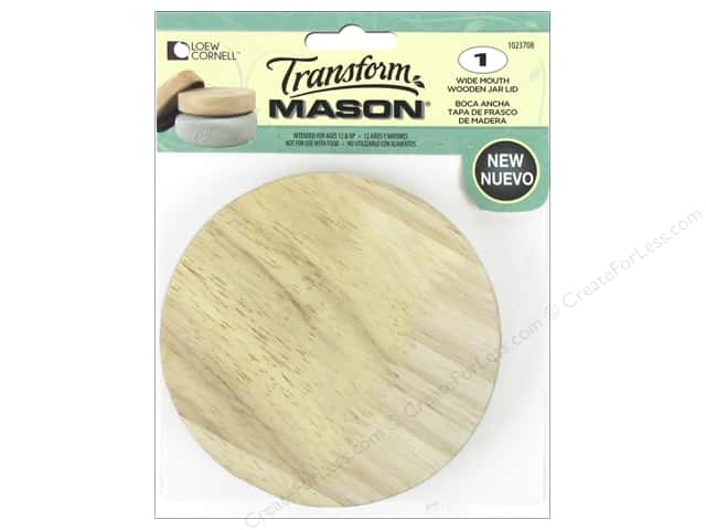 Loew Cornell Transform Mason Wooden Jar Lid Wide Mouth
