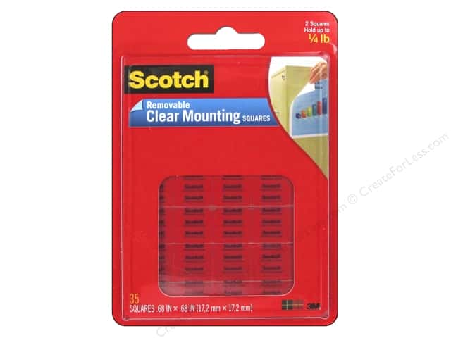 Scotch Mounting Square Removable 5/8 in.  Clear 35 pc