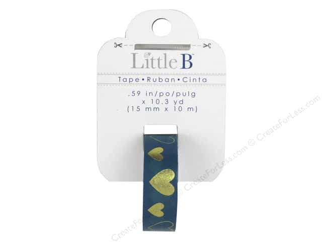 Little B Decorative Paper Tape 5/8 in. Gold Foil Blue Hearts