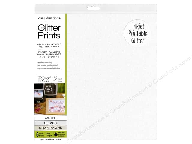 Coredinations Glitter Prints Paper Pad 12 x 12 in. Assorted 6 pc.