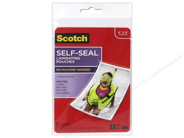 "Scotch Laminating Pouch Self Sealing Photo 4""x 6"" 5pc Gloss"