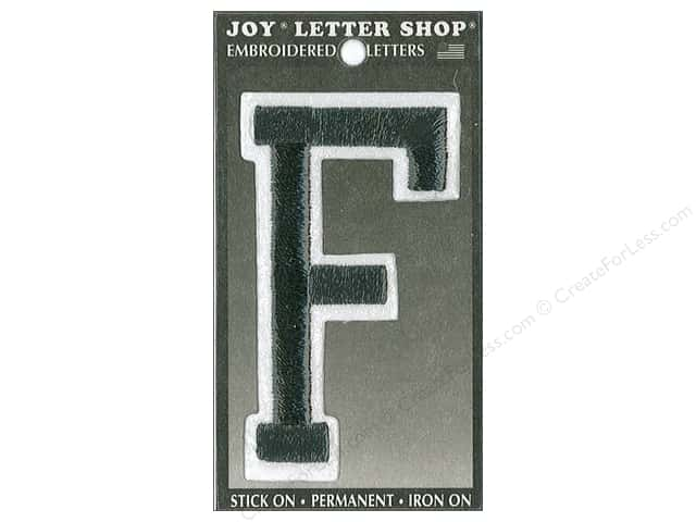 "Joy Lettershop Iron-On Embroidered Letter ""F"" 3 in. Black"