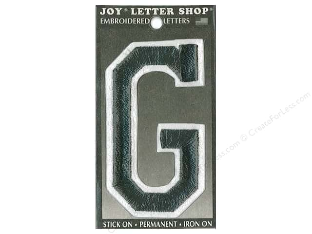"Joy Lettershop Iron-On Embroidered Letter ""G"" 3 in. Black"
