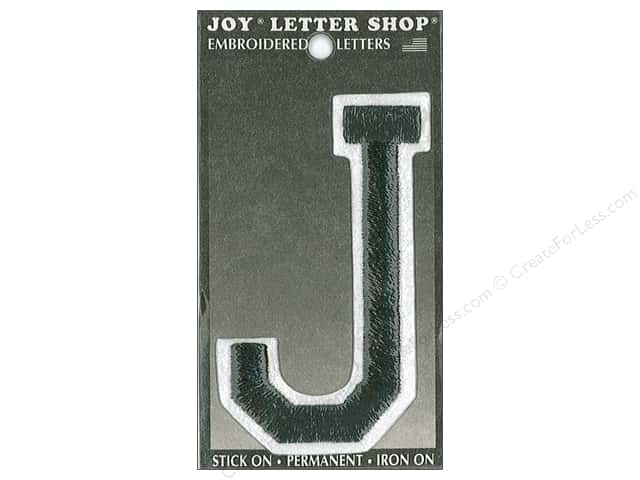 "Joy Lettershop Iron-On Embroidered Letter ""J"" 3 in. Black"