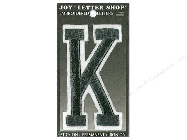 "Joy Lettershop Iron-On Embroidered Letter ""K"" 3 in. Black"